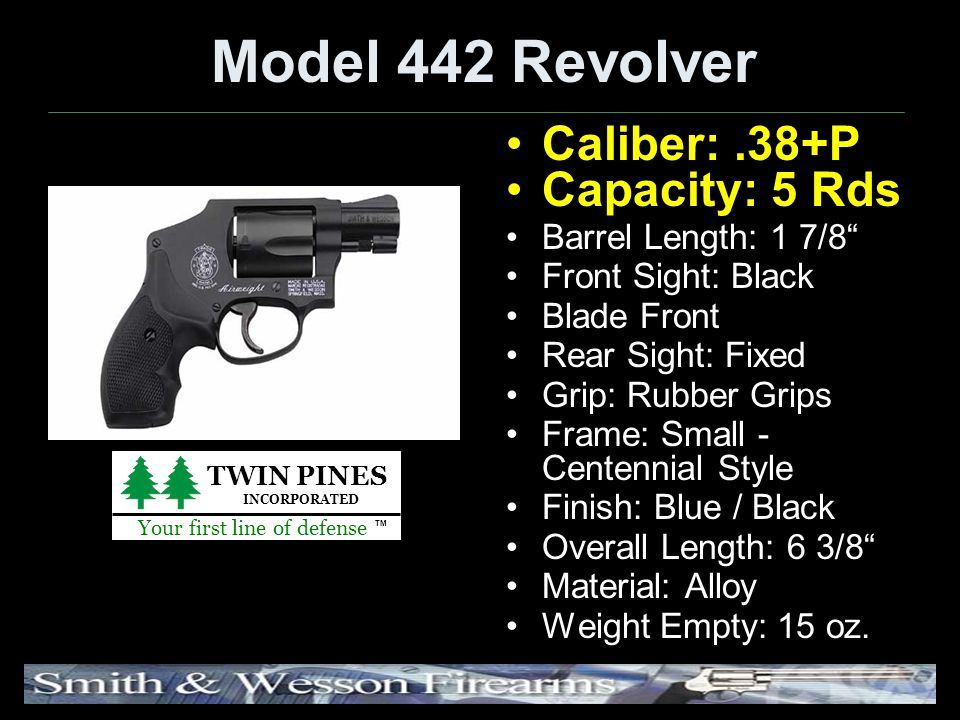 Model 442 Revolver Caliber:.38+P Capacity: 5 Rds Barrel Length: 1 7/8 Front Sight: Black Blade Front Rear Sight: Fixed Grip: Rubber Grips Frame: Small - Centennial Style Finish: Blue / Black Overall Length: 6 3/8 Material: Alloy Weight Empty: 15 oz.