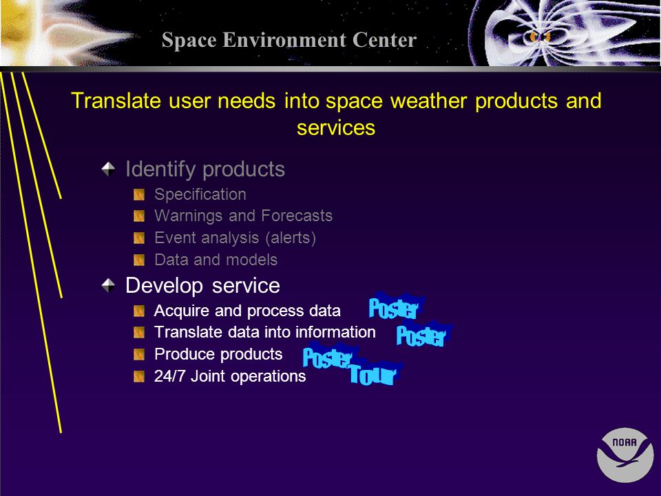 Space Environment Center Translate user needs into space weather products and services Identify products Specification Warnings and Forecasts Event analysis (alerts) Data and models Develop service Acquire and process data Translate data into information Produce products 24/7 Joint operations