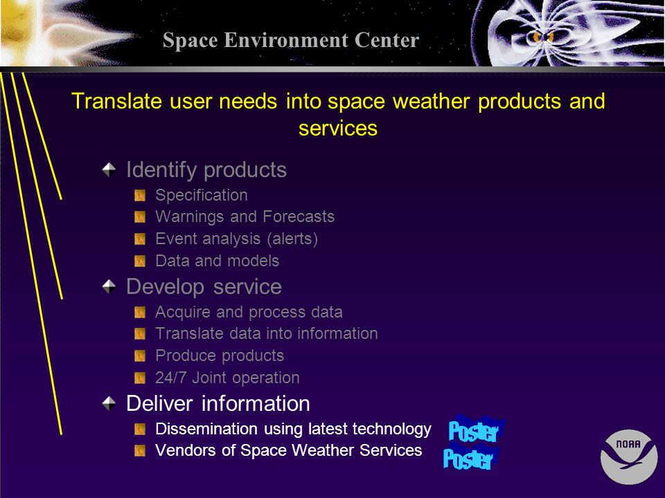 Space Environment Center Translate user needs into space weather products and services Identify products Specification Warnings and Forecasts Event analysis (alerts) Data and models Develop service Acquire and process data Translate data into information Produce products 24/7 Joint operation Deliver information Dissemination using latest technology Vendors of Space Weather Services