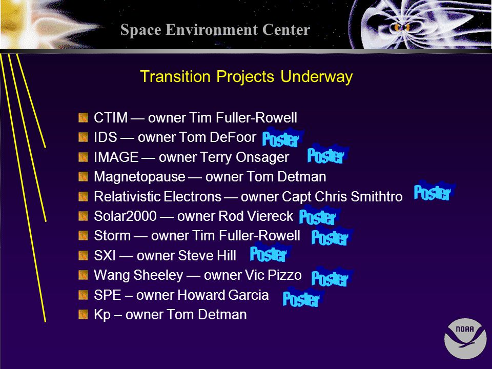 Space Environment Center Transition Projects Underway CTIM owner Tim Fuller-Rowell IDS owner Tom DeFoor IMAGE owner Terry Onsager Magnetopause owner Tom Detman Relativistic Electrons owner Capt Chris Smithtro Solar2000 owner Rod Viereck Storm owner Tim Fuller-Rowell SXI owner Steve Hill Wang Sheeley owner Vic Pizzo SPE – owner Howard Garcia Kp – owner Tom Detman