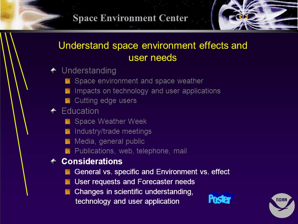 Space Environment Center Understand space environment effects and user needs Understanding Space environment and space weather Impacts on technology and user applications Cutting edge users Education Space Weather Week Industry/trade meetings Media, general public Publications, web, telephone, mail Considerations General vs.