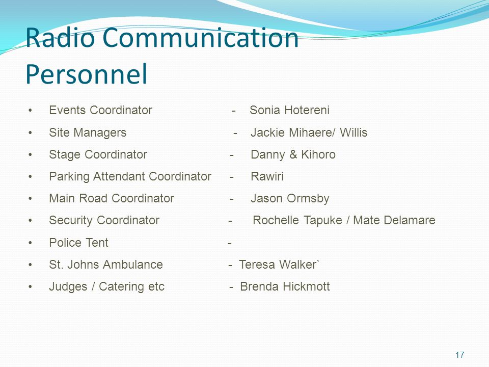 Radio Communication Personnel 17 Events Coordinator - Sonia Hotereni Site Managers - Jackie Mihaere/ Willis Stage Coordinator - Danny & Kihoro Parking Attendant Coordinator - Rawiri Main Road Coordinator - Jason Ormsby Security Coordinator - Rochelle Tapuke / Mate Delamare Police Tent - St.