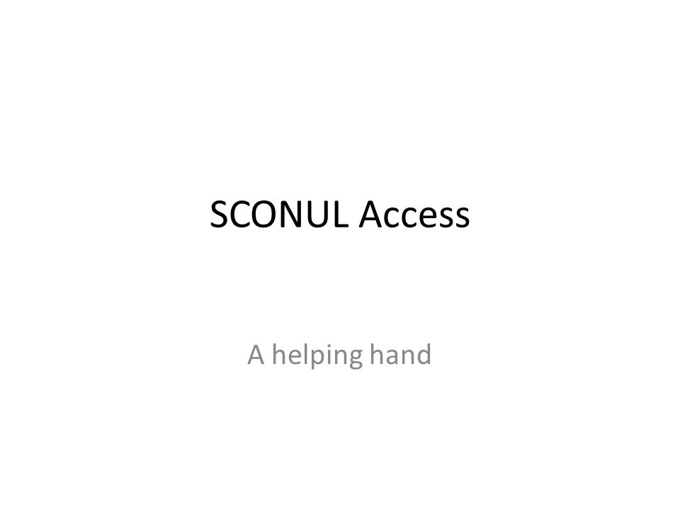 SCONUL Access A helping hand