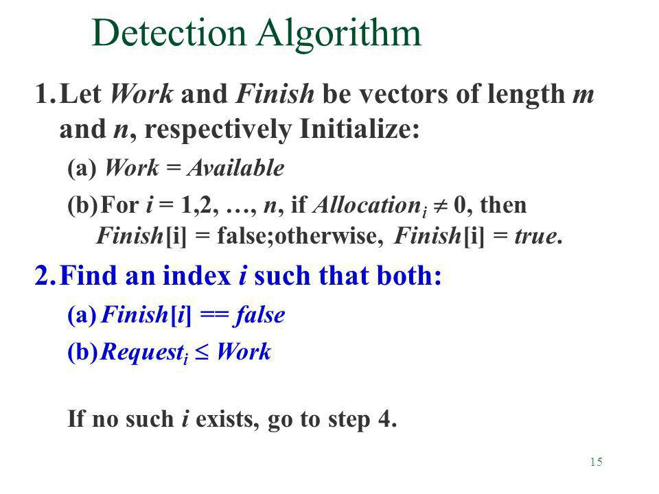 15 Detection Algorithm 1.Let Work and Finish be vectors of length m and n, respectively Initialize: (a) Work = Available (b)For i = 1,2, …, n, if Allo