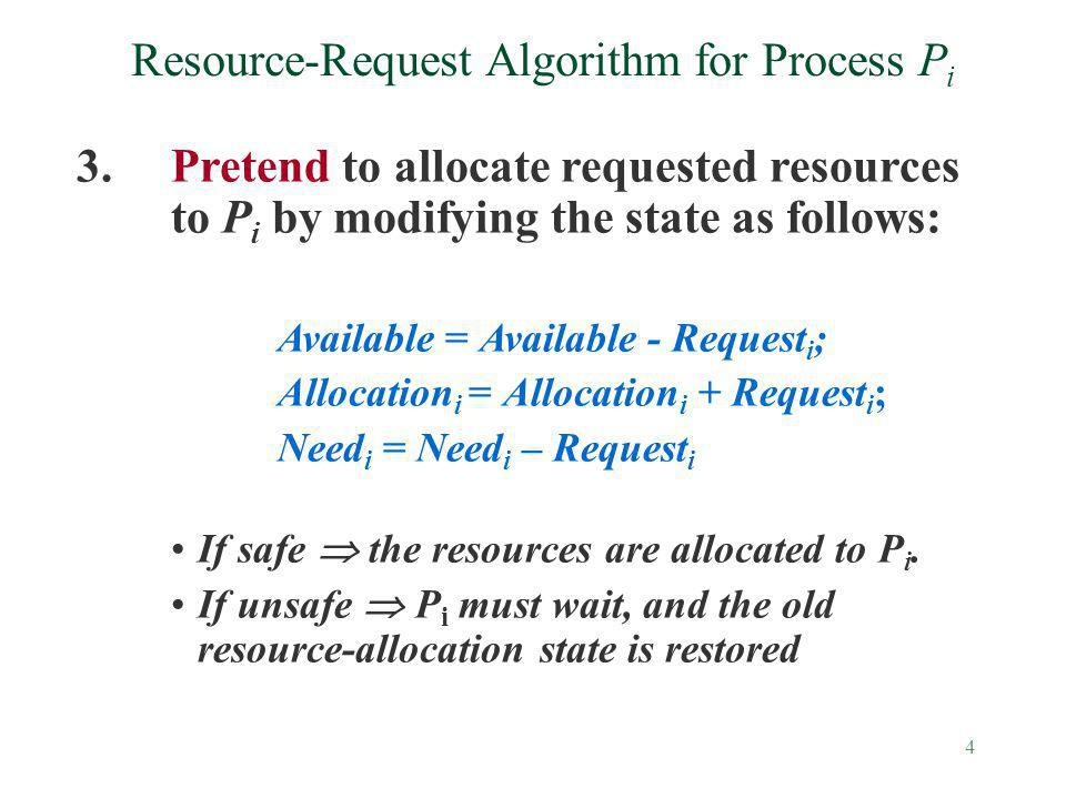 4 Resource-Request Algorithm for Process P i 3.Pretend to allocate requested resources to P i by modifying the state as follows: Available = Available