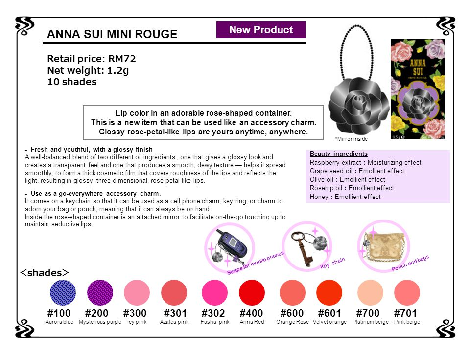 ANNA SUI MINI ROUGE Retail price: RM72 Net weight: 1.2g 10 shades Lip color in an adorable rose-shaped container.