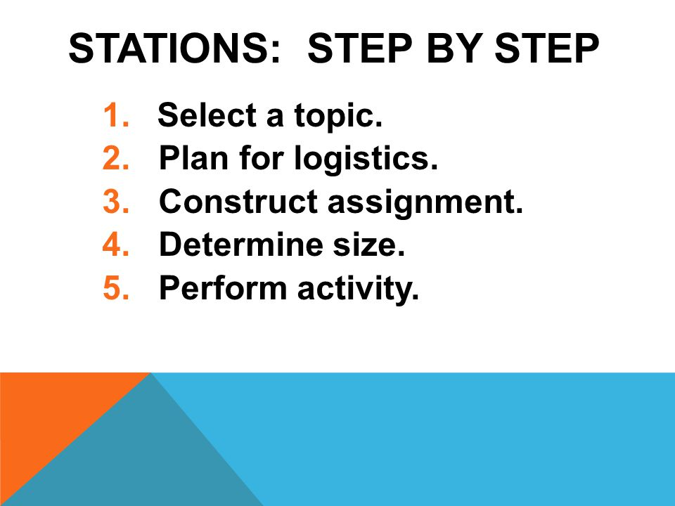 STATIONS: STEP BY STEP 1.Select a topic. 2. Plan for logistics.