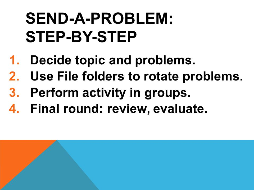 SEND-A-PROBLEM: STEP-BY-STEP 1.Decide topic and problems.