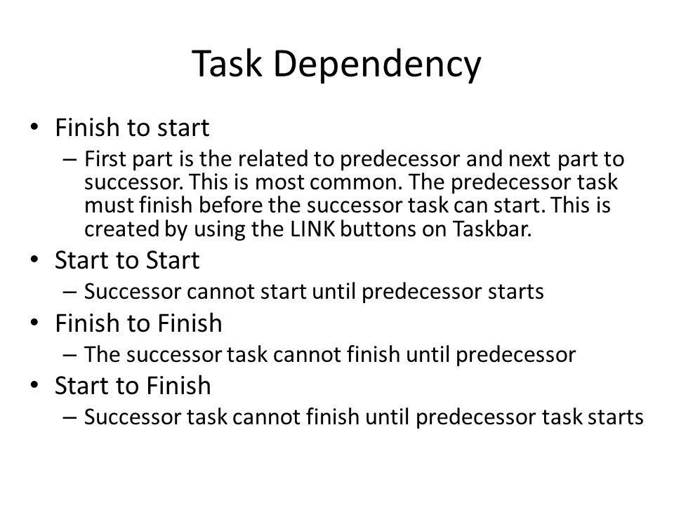 Constraints type As late as Possible – Project forces task to start on the last date possible, so the tasks ends no later than the END Date.