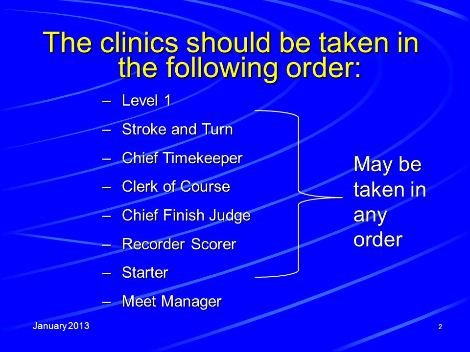 January 2013 2 The clinics should be taken in the following order: –Level 1 –Stroke and Turn –Chief Timekeeper –Clerk of Course –Chief Finish Judge –R