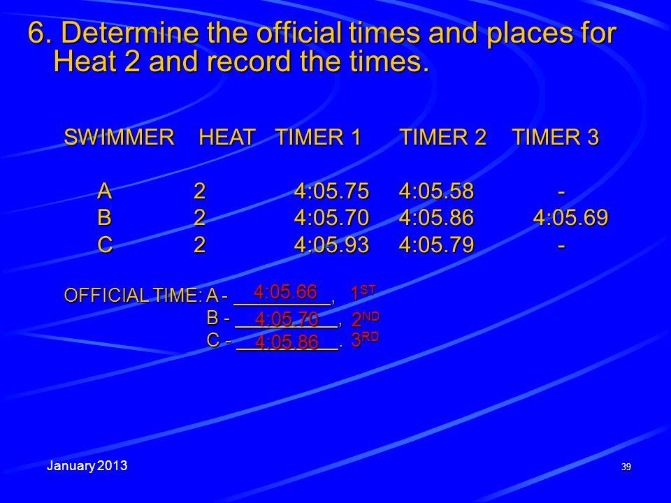 January 2013 39 SWIMMER HEAT TIMER 1 TIMER 2 TIMER 3 A24:05.754:05.58 - B24:05.704:05.864:05.69 C24:05.934:05.79 - OFFICIAL TIME: A -, B -, C -. 6. De