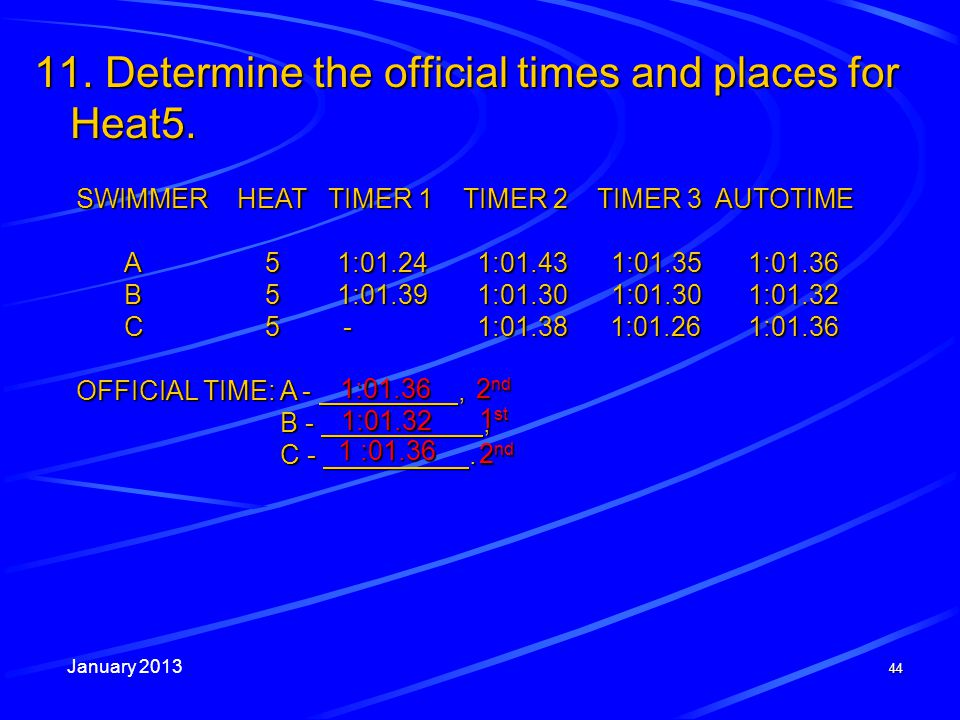 January 2013 44 SWIMMER HEAT TIMER 1 TIMER 2 TIMER 3 AUTOTIME A51:01.24 1:01.43 1:01.351:01.36 B51:01.39 1:01.30 1:01.301:01.32 C5- 1:01.38 1:01.261:01.36 OFFICIAL TIME: A -, B -, C -.