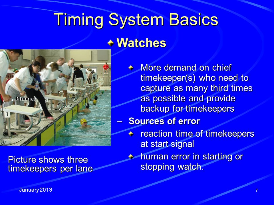 January 2013 58 24.When automatic judging and timing systems are in use: a)the places and times determined by the system shall be official, unless they are invalidated by the Referee or CFJ; b)times shall be recorded to 100ths, even if 1000ths are provided; c)swimmers whose times are tied to 100ths shall be placed according to the manual backup times; d)there shall also be a full complement of timekeepers or another form of backup system; e)only one timekeeper per lane is satisfactory as a backup timing system; f)a malfunction of the system shall require the race to be stopped and swum again.