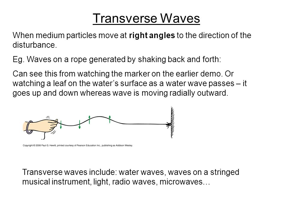 Transverse Waves When medium particles move at right angles to the direction of the disturbance. Eg. Waves on a rope generated by shaking back and for