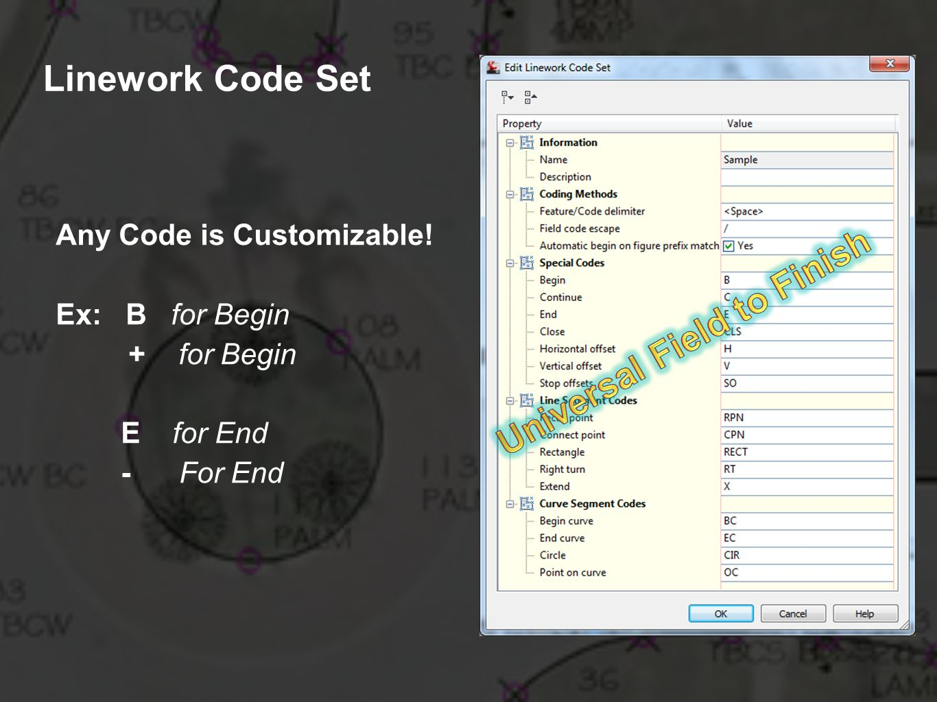 Linework Code Set Any Code is Customizable! Ex: B for Begin + for Begin E for End - For End