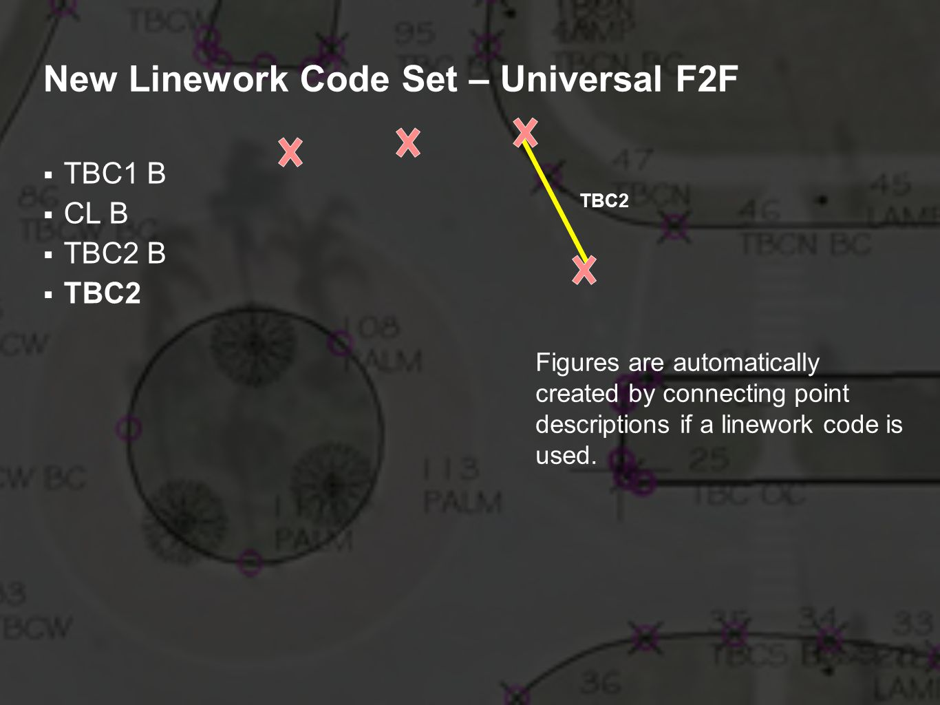 New Linework Code Set – Universal F2F TBC1 B CL B TBC2 B TBC2 Figures are automatically created by connecting point descriptions if a linework code is used.