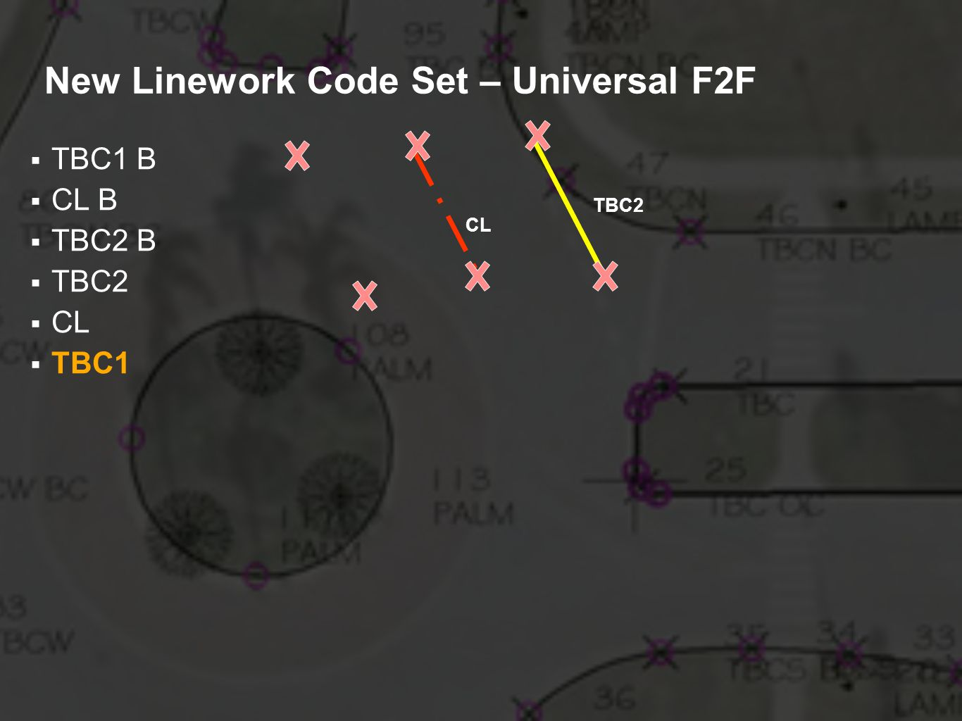 New Linework Code Set – Universal F2F TBC1 B CL B TBC2 B TBC2 CL TBC1 TBC2 CL
