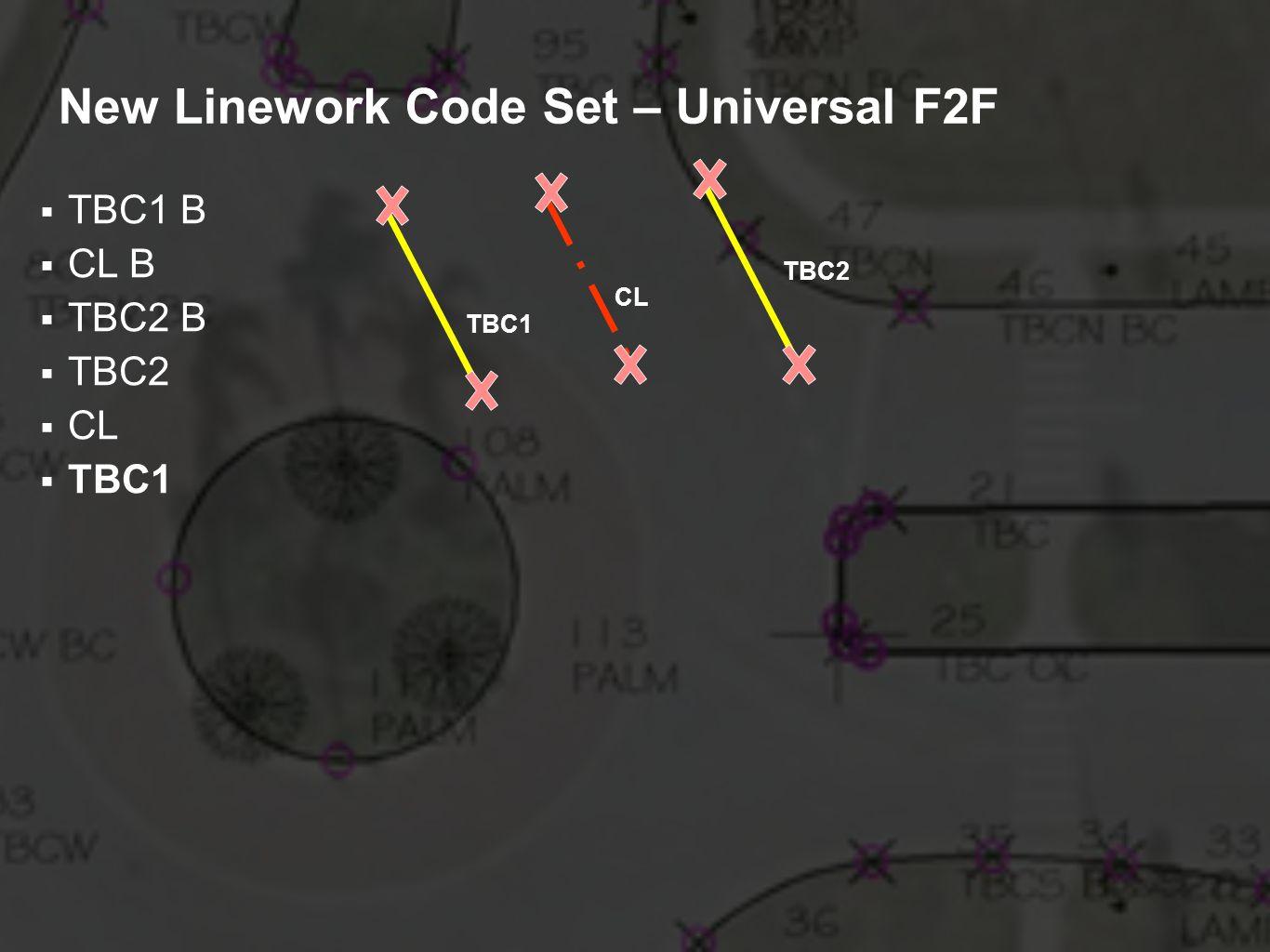 New Linework Code Set – Universal F2F TBC1 B CL B TBC2 B TBC2 CL TBC1 TBC2 CL TBC1