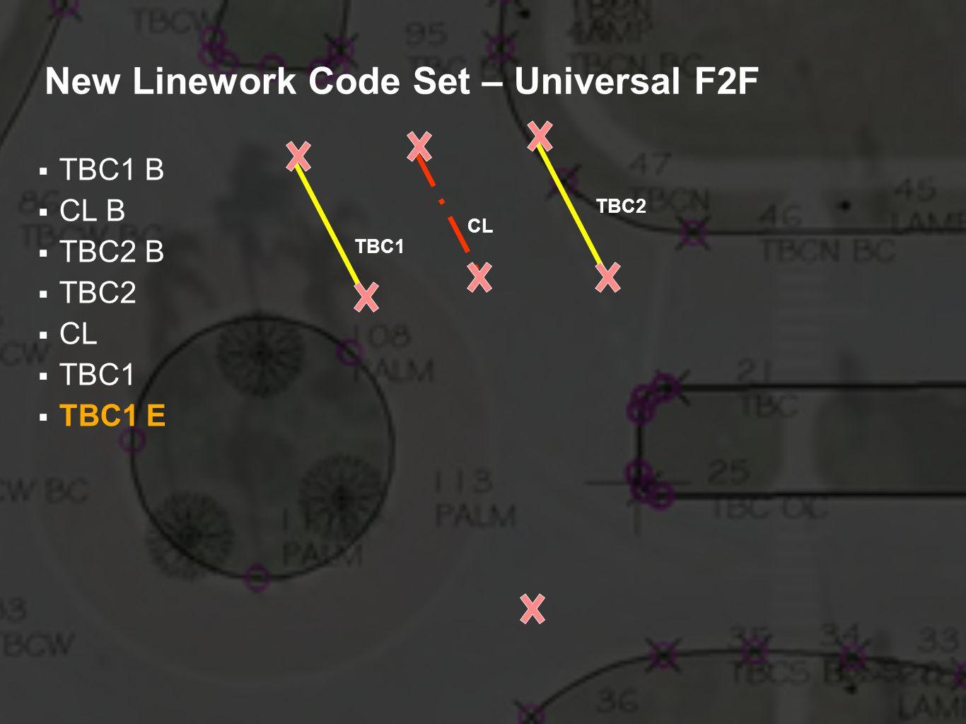 New Linework Code Set – Universal F2F TBC1 B CL B TBC2 B TBC2 CL TBC1 TBC1 E TBC2 CL TBC1
