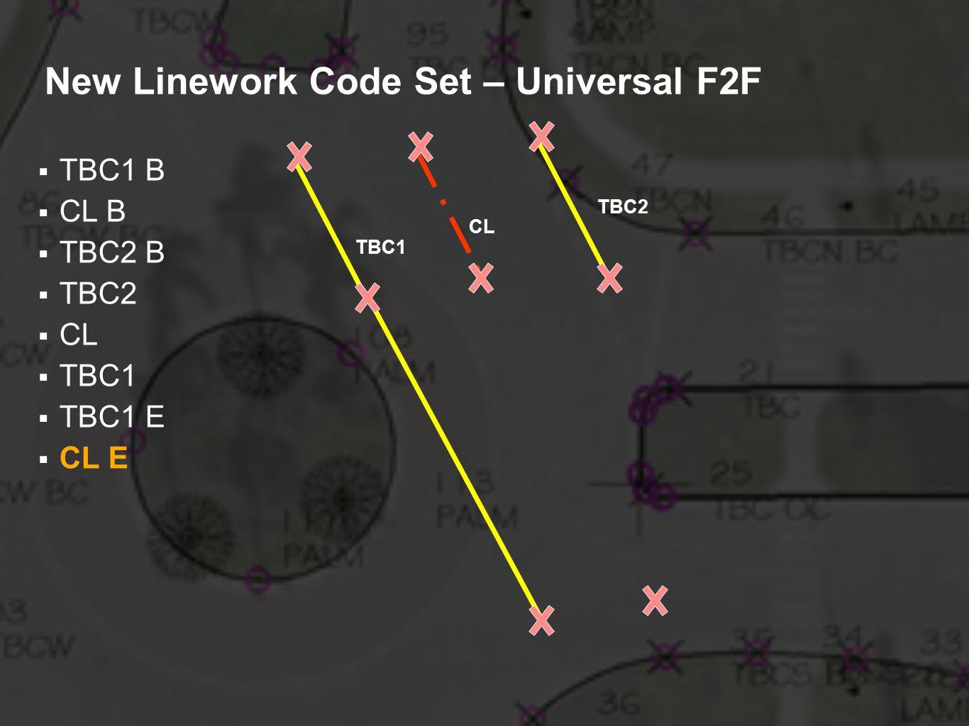 New Linework Code Set – Universal F2F TBC1 B CL B TBC2 B TBC2 CL TBC1 TBC1 E CL E TBC2 CL TBC1