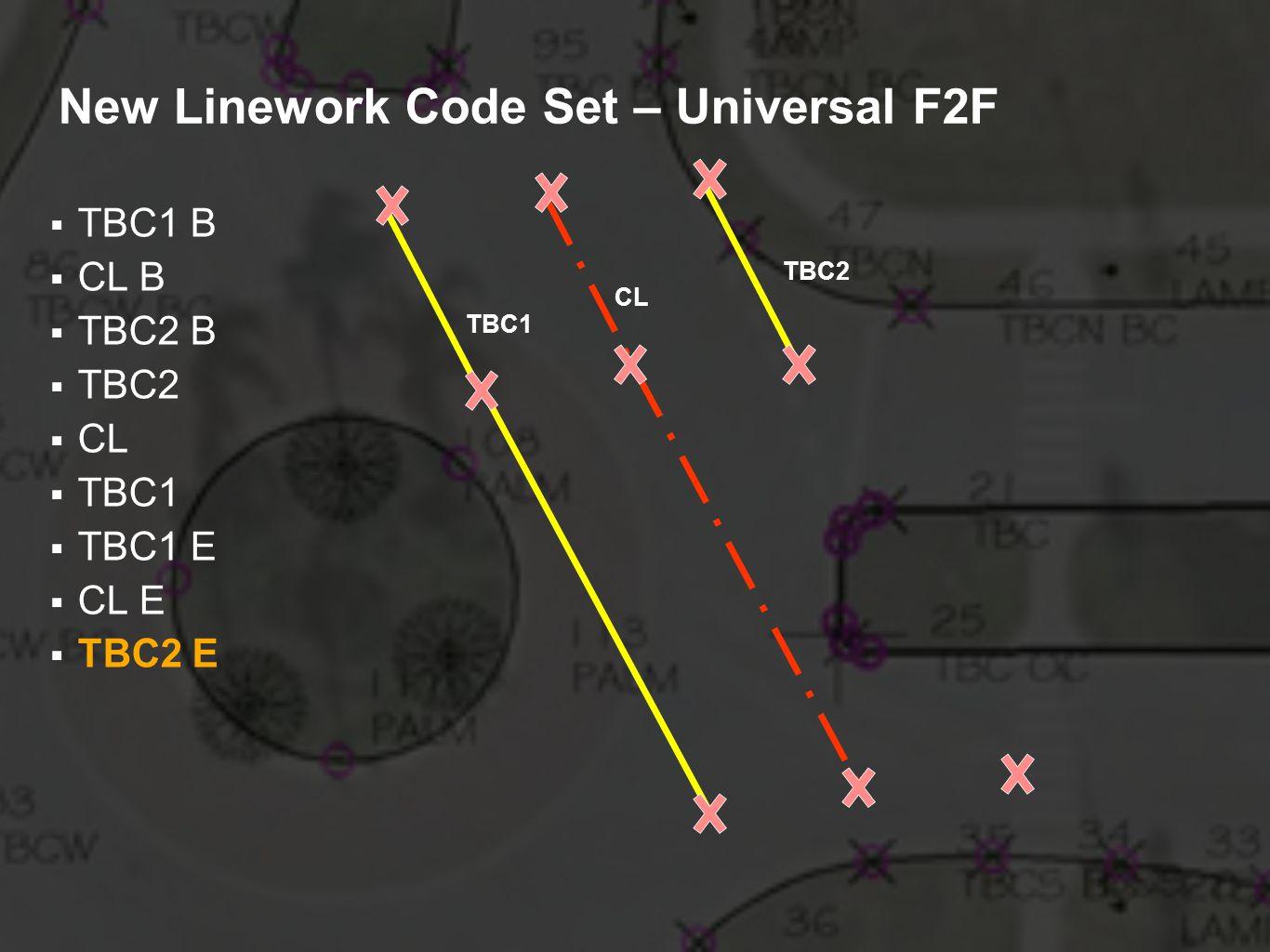 New Linework Code Set – Universal F2F TBC1 B CL B TBC2 B TBC2 CL TBC1 TBC1 E CL E TBC2 E TBC2 CL TBC1
