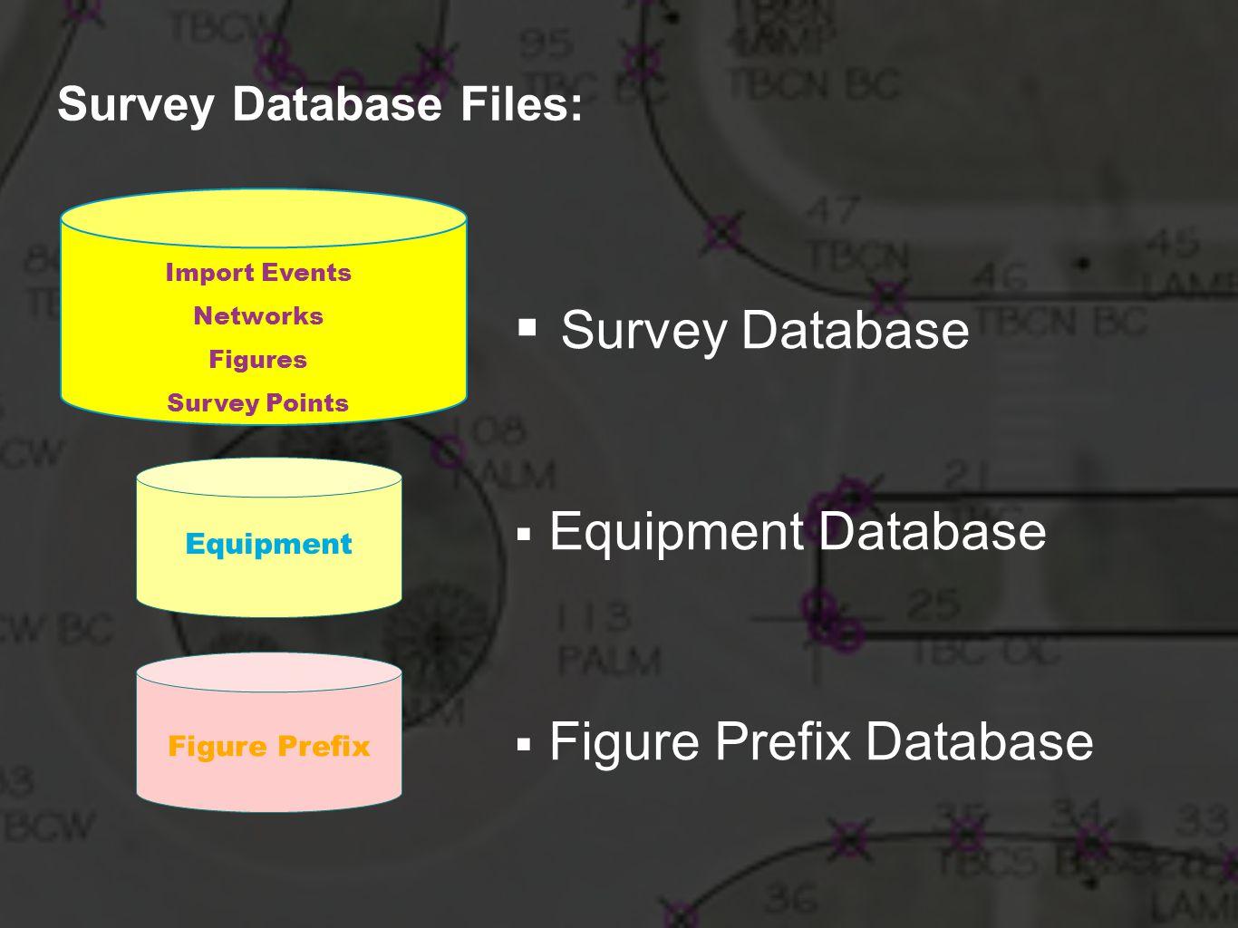 Import Events Networks Figures Survey Points Equipment Figure Prefix Survey Database Equipment Database Figure Prefix Database Survey Database Files: