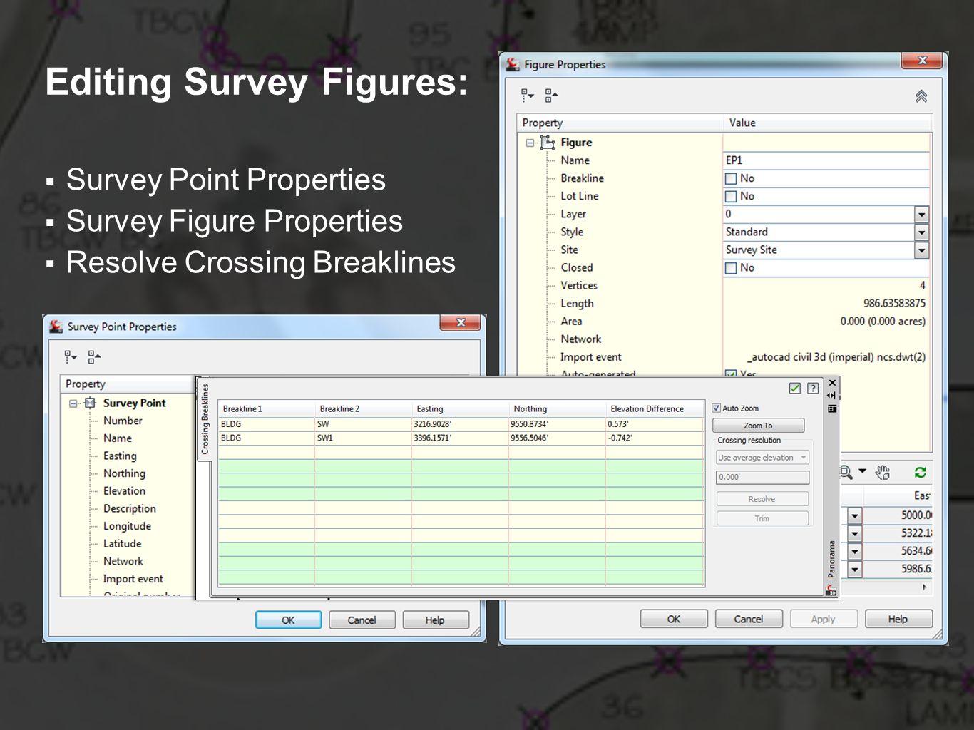 Editing Survey Figures: Survey Point Properties Survey Figure Properties Resolve Crossing Breaklines
