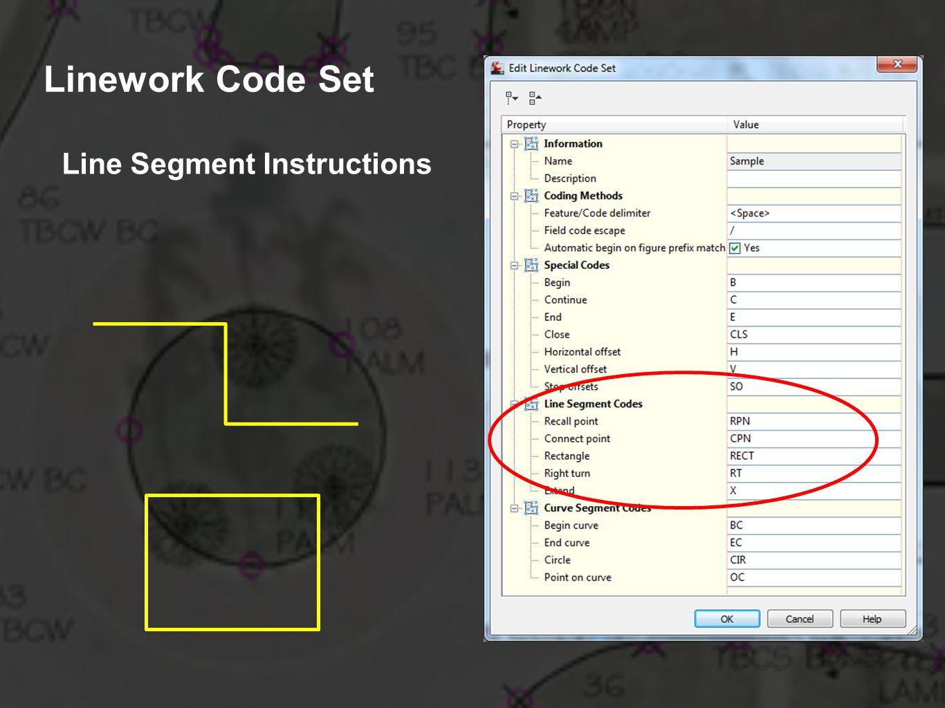 Linework Code Set Line Segment Instructions