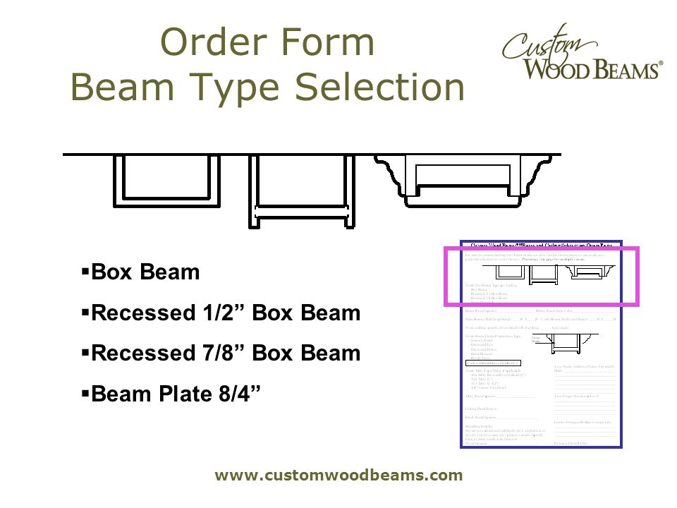 www.customwoodbeams.com Order Form Beam Type Selection Box Beam Recessed 1/2 Box Beam Recessed 7/8 Box Beam Beam Plate 8/4
