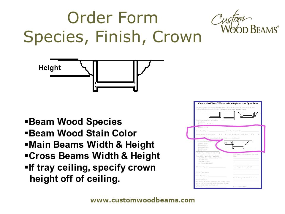 www.customwoodbeams.com Order Form Species, Finish, Crown Beam Wood Species Beam Wood Stain Color Main Beams Width & Height Cross Beams Width & Height If tray ceiling, specify crown.