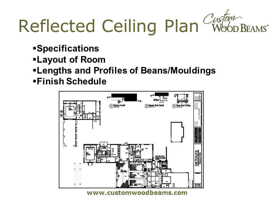 www.customwoodbeams.com Reflected Ceiling Plan Specifications Layout of Room Lengths and Profiles of Beans/Mouldings Finish Schedule