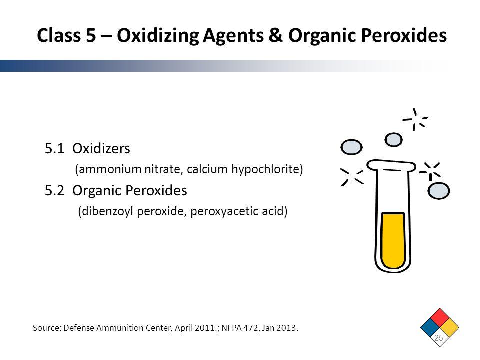 Class 5 – Oxidizing Agents & Organic Peroxides 5.1 Oxidizers (ammonium nitrate, calcium hypochlorite) 5.2 Organic Peroxides (dibenzoyl peroxide, perox