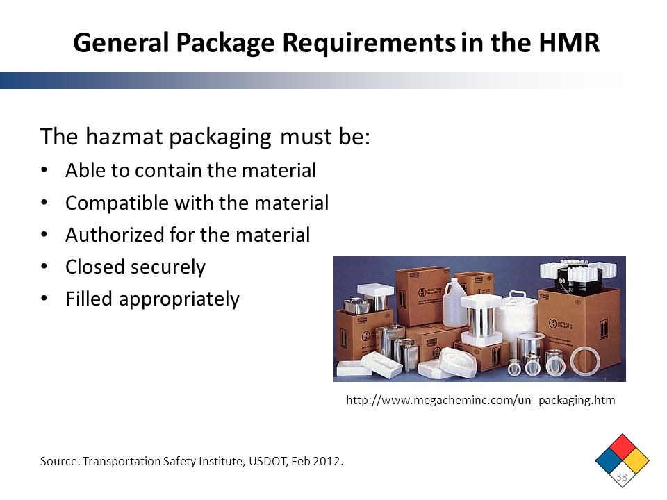 General Package Requirements in the HMR 38 Source: Transportation Safety Institute, USDOT, Feb 2012. The hazmat packaging must be: Able to contain the