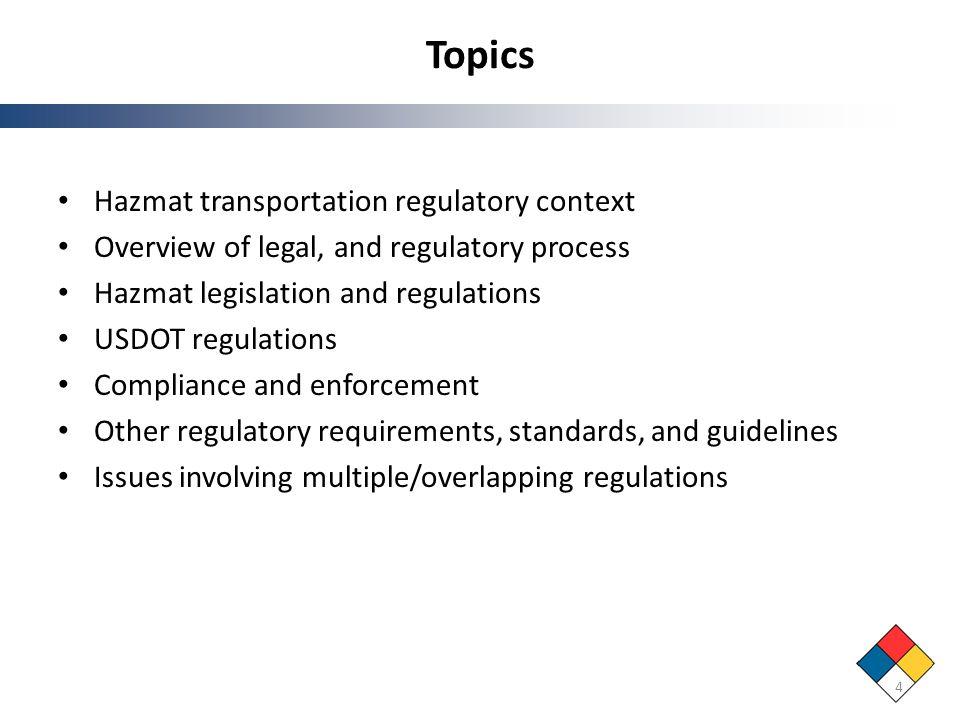 Topics Hazmat transportation regulatory context Overview of legal, and regulatory process Hazmat legislation and regulations USDOT regulations Complia