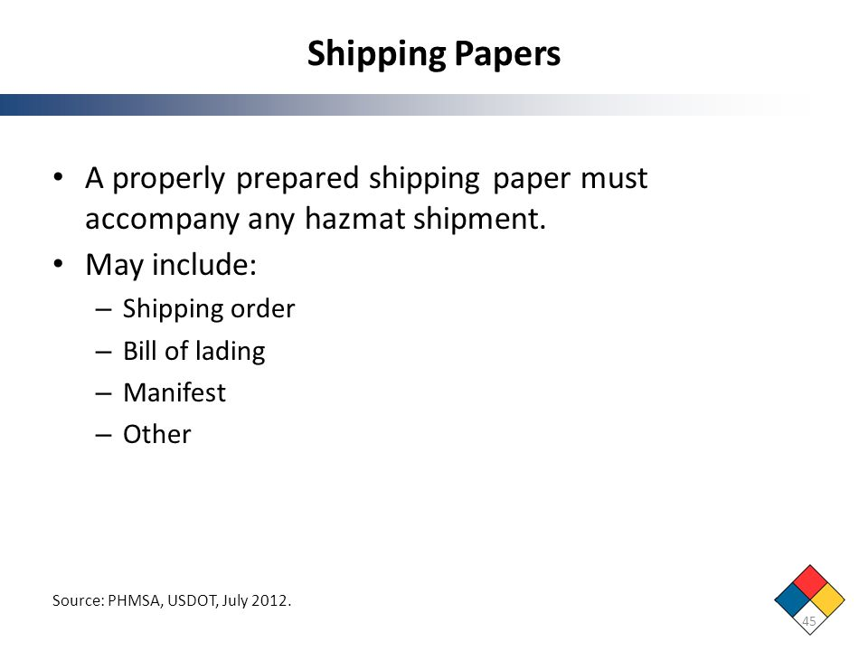 Shipping Papers A properly prepared shipping paper must accompany any hazmat shipment. May include: – Shipping order – Bill of lading – Manifest – Oth