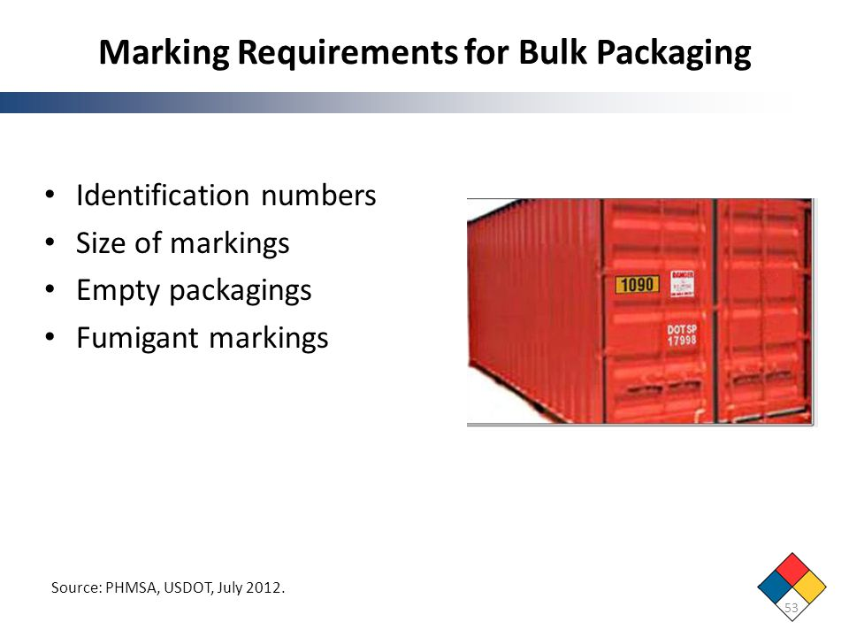 Marking Requirements for Bulk Packaging Identification numbers Size of markings Empty packagings Fumigant markings 53 Source: PHMSA, USDOT, July 2012.