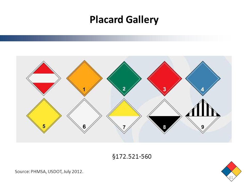 Placard Gallery 61 Source: PHMSA, USDOT, July 2012. §172.521-560