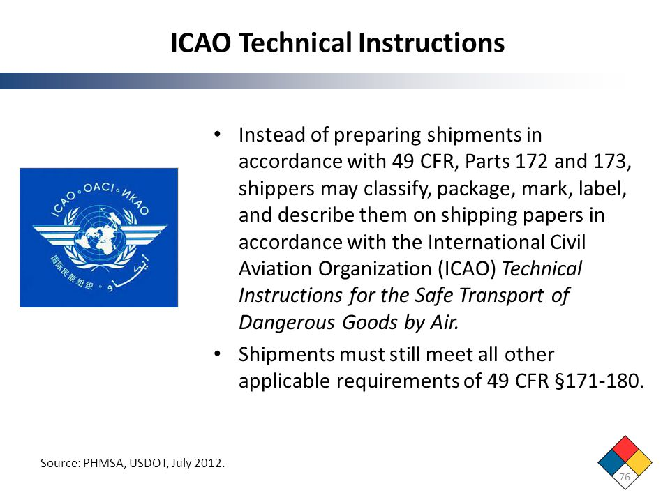 ICAO Technical Instructions 76 Source: PHMSA, USDOT, July 2012. Instead of preparing shipments in accordance with 49 CFR, Parts 172 and 173, shippers