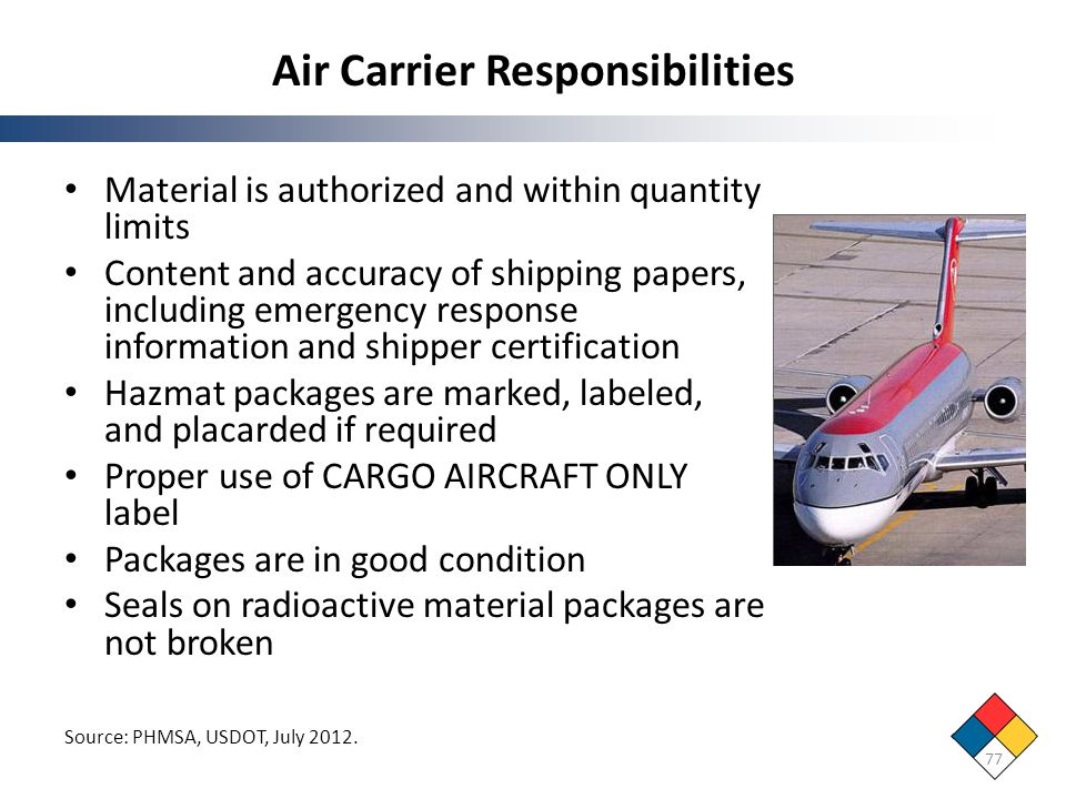 Air Carrier Responsibilities 77 Source: PHMSA, USDOT, July 2012. Material is authorized and within quantity limits Content and accuracy of shipping pa