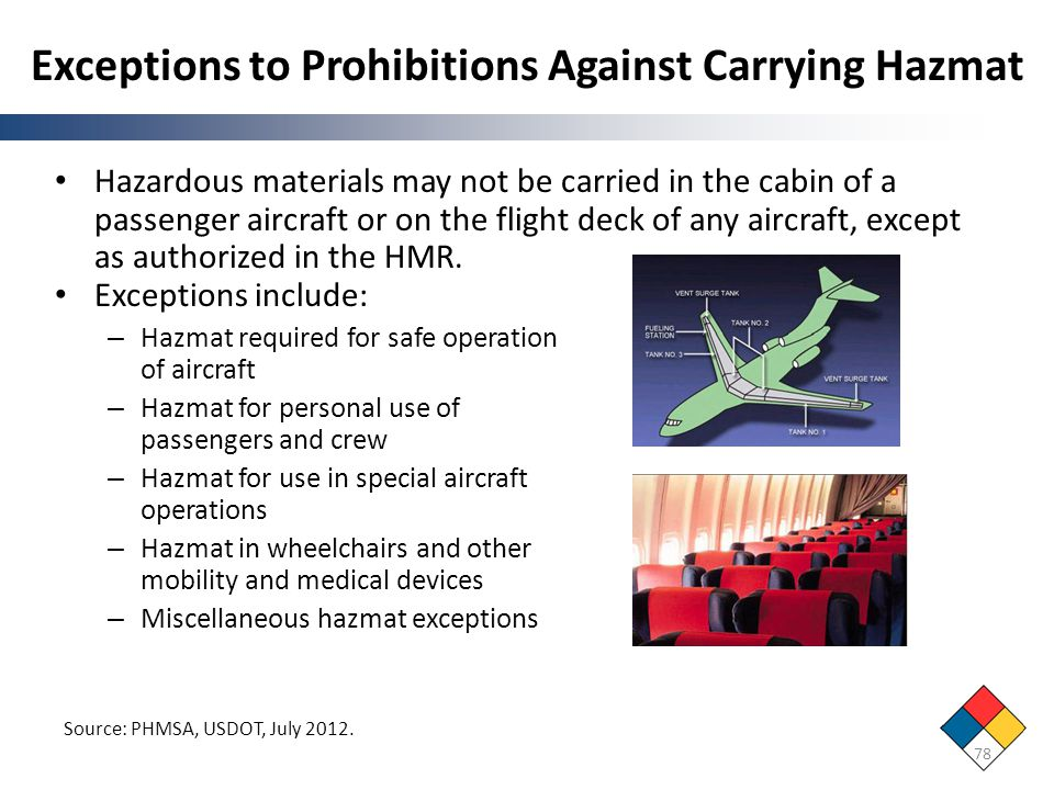 Exceptions to Prohibitions Against Carrying Hazmat Hazardous materials may not be carried in the cabin of a passenger aircraft or on the flight deck o