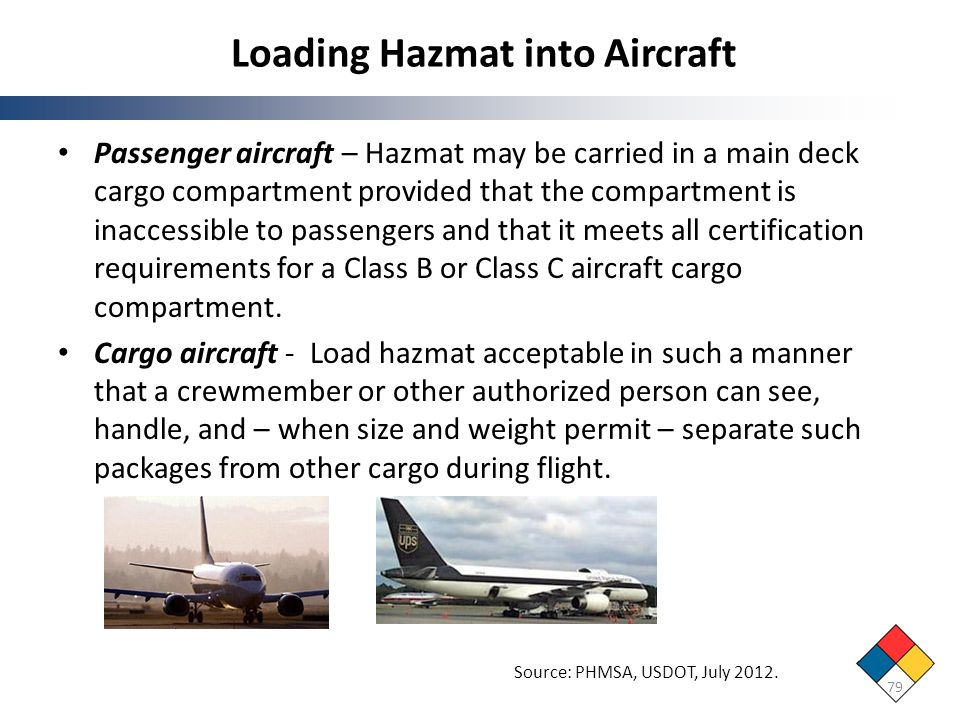 Loading Hazmat into Aircraft 79 Source: PHMSA, USDOT, July 2012. Passenger aircraft – Hazmat may be carried in a main deck cargo compartment provided