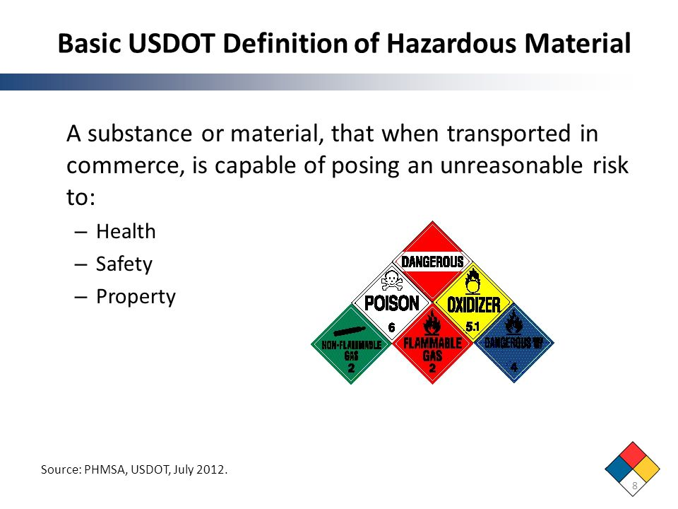 Basic USDOT Definition of Hazardous Material 8 A substance or material, that when transported in commerce, is capable of posing an unreasonable risk t