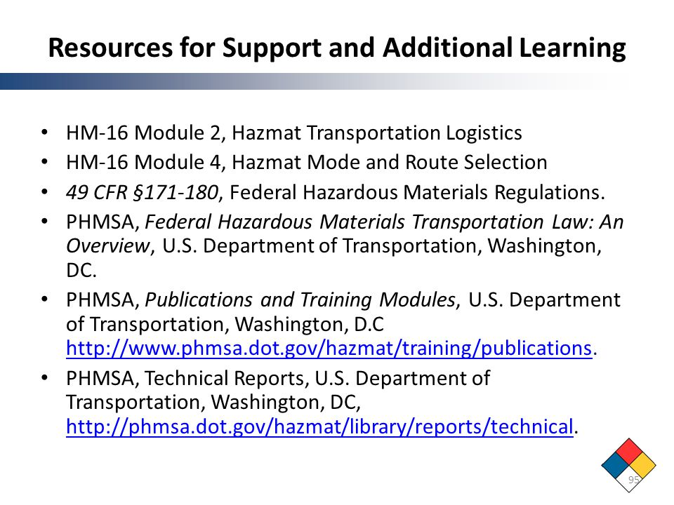 Resources for Support and Additional Learning HM-16 Module 2, Hazmat Transportation Logistics HM-16 Module 4, Hazmat Mode and Route Selection 49 CFR §
