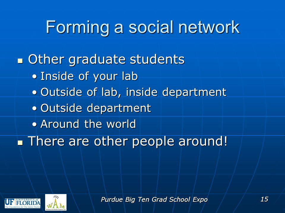 Forming a social network Other graduate students Other graduate students Inside of your labInside of your lab Outside of lab, inside departmentOutside