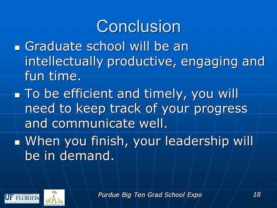 Conclusion Graduate school will be an intellectually productive, engaging and fun time. Graduate school will be an intellectually productive, engaging