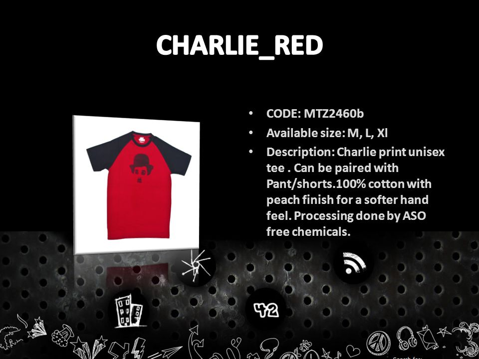 CODE: MTZ2460b Available size: M, L, Xl Description: Charlie print unisex tee.