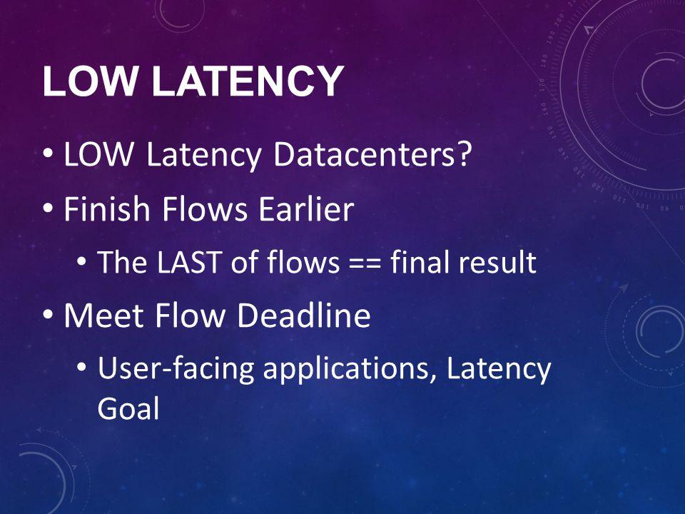 LOW LATENCY LOW Latency Datacenters? Finish Flows Earlier The LAST of flows == final result Meet Flow Deadline User-facing applications, Latency Goal