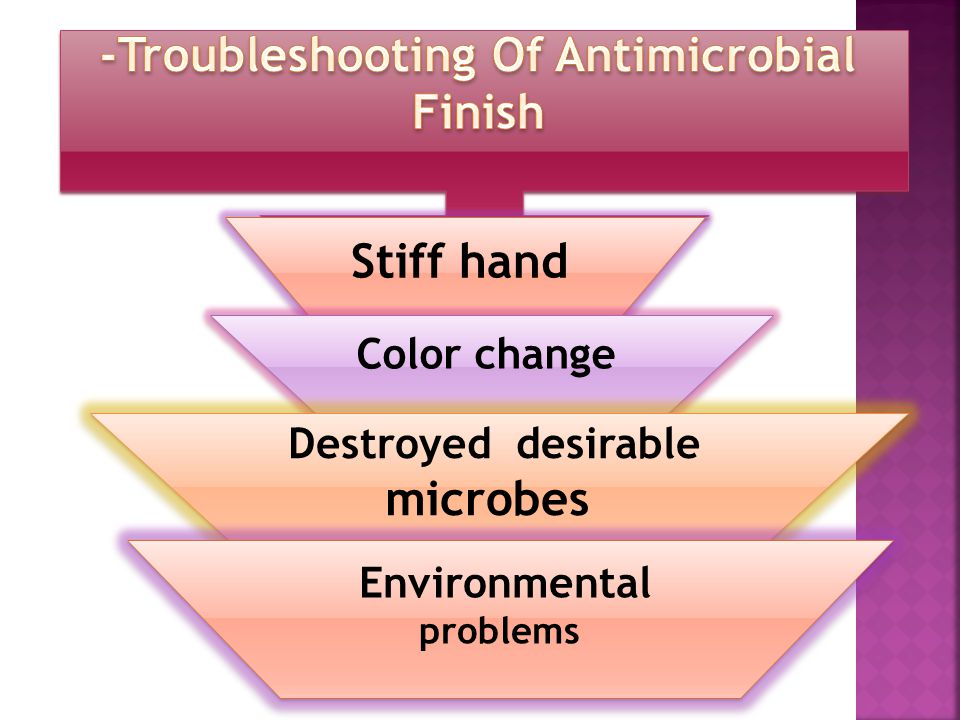 Stiff hand Color change Destroyed desirable microbes Environmental problems