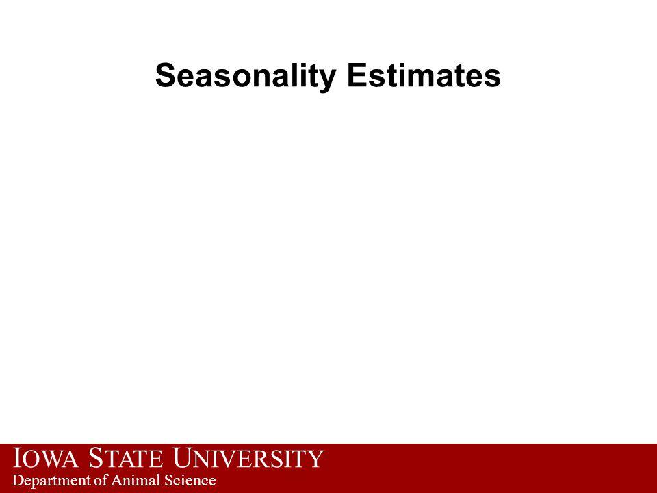 I OWA S TATE U NIVERSITY Department of Animal Science Seasonality Estimates