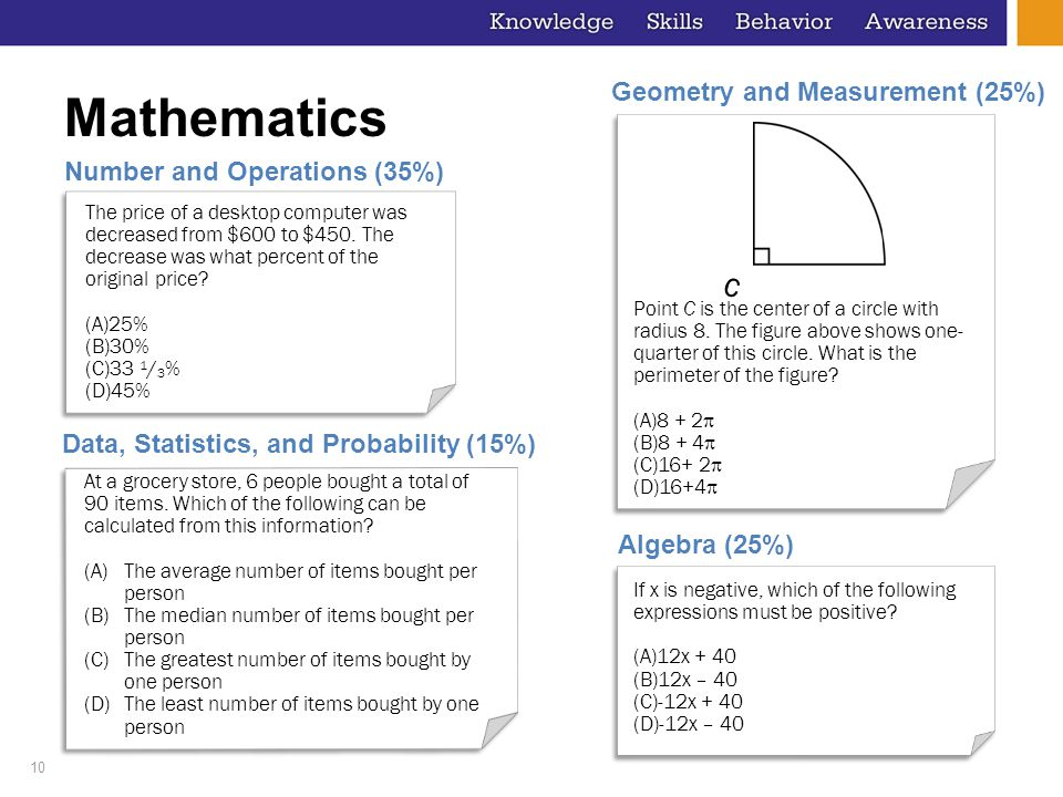 10 Mathematics Number and Operations (35%) The price of a desktop computer was decreased from $600 to $450. The decrease was what percent of the origi